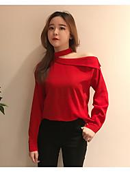 realmente fazendo a Coreia do novo departamento de estilo ocidental chique do pescoço strapless oblíqua camisa de mangas compridas
