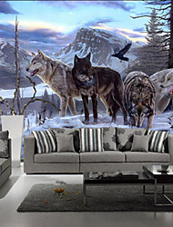 cheap -Art Deco Wallpaper For Home Wall Covering Canvas Adhesive Required Mural Colored Snowman WolvesXXXL(448*280cm)