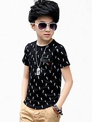 preiswerte -Jungen T-Shirt Alltag Baumwolle Frühling Sommer Ganzjährig Kurzarm Blumig Weiß Schwarz