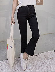 2017 Korean version of the high waist black jeans female horn nine points was thin irregular edges 9 pants Weila