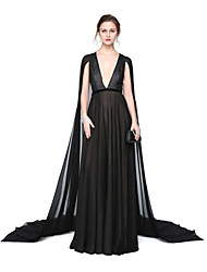 cheap -A-Line V-neck Floor Length Chiffon Formal Evening Dress with Sash / Ribbon Pleats by TS Couture®