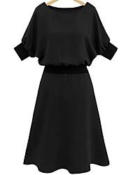 baratos -Mulheres Tamanhos Grandes Para Noite Bainha Vestido Sólido Médio Preto