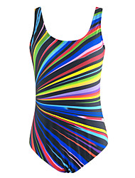 Women's Fashion Halter Striped Colorful Sports High Rise One-Piece Swimsuits