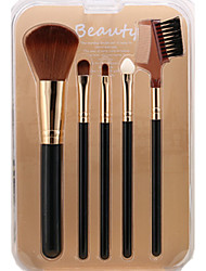 cheap -Sandepin Black Color 5 Makeup Brush Set Synthetic Hair Travel For Beginner With Box