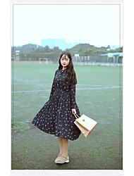 modèle # 6199 nouveau tir réel frais mousseline imprimé oiseau doux marée de mode robe à manches longues