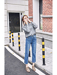Sign Nett dotted line embroidery 2016 new winter high waist loose straight jeans split