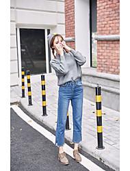 Zeichen nett punktierte Linie Stickerei 2016 neue Winter hohe Taille lose gerade Jeans Split
