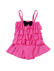 cheap -Girls' Bow Polka Dot Patchwork Swimwear, Cotton Polyester Fuchsia