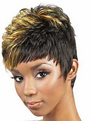 Popular Short Wig Black To Blonde Color Curly Synthetic Wigs For Afro Women