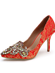 Da donna-Tacchi-Matrimonio Serata e festa-Scarpe Flower Girl Scarpe ricamati Club Shoes-A stiletto-Finta pelle-Rosso