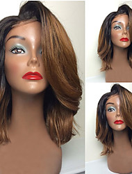 6/27 Chestnut Brown Ombre 8-26 Inch Body Wave Brazilian Human Virgin Full Lace Front With Chinese Bangs Lace Front Wigs