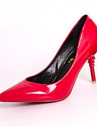 cheap -Women's Heels Comfort PU Spring Outdoor Walking Comfort Stiletto Heel Black Light Grey Ruby Light Pink 1in-1 3/4in