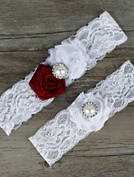 cheap -Chiffon Lace Satin Fashion Wedding Garter with Lace Flower Garters