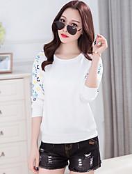 Подписать новые весенние корейские женщины&С круглой шеей с длинными рукавами культивирования больших размеров моды печатных футболки