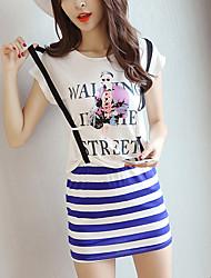 vídeo procuração modelo fornecido listrado coreano de duas peças de impressão vestido de alça pacote de hip falso