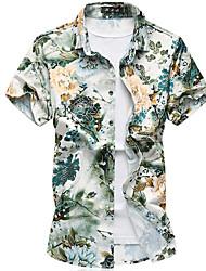 Недорогие -Для мужчин На выход На каждый день Праздники Лето Осень Рубашка Рубашечный воротник,Простое Цветочный принт С короткими рукавами,Хлопок,