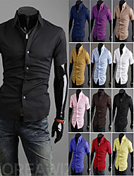 Men's Casual/Daily Simple Summer Shirt,Solid Square Neck Short Sleeves Cotton Thin