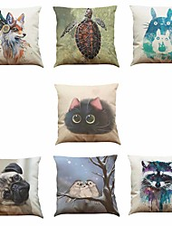 Set of 7 Tortoise Fox Bird Pattern Linen  Cushion Cover Home Office Sofa Square  Pillow Case Decorative Cushion Covers Pillowcases