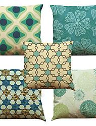 preiswerte -5 Stück Leinen Natürlich / Organisch Kissenbezug, Solide Blumen Verziert Texture Freizeit Strand Design Euro Stützen