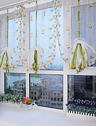 Pencil Pleat One Panel Curtain Neoclassical Mediterranean European Designer , Embroidery Living Room Polyester Material Sheer Curtains