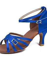 Women's Dance Shoes Latin Sandals dance shoes  ladies Girls Cuban Heel 5/7 Black Blue (219) Customizable