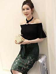 Nett! Spring Korean fashion wild personality halter word shoulder short-sleeved shirt Slim speaker