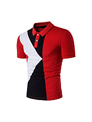 cheap -Men's Sports Cotton T-shirt - Color Block Print Shirt Collar