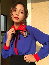 colpo vero e proprio nuovo colore di colpo coreano ricamato camicia a maniche lunghe che basa la camicia allentata retrò