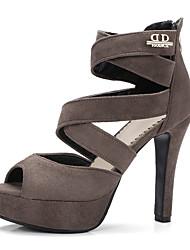 Femme Sandales club de Chaussures Similicuir Printemps Eté Habillé club de Chaussures Fermeture Talon Aiguille Noir Kaki 10 à 12 cm