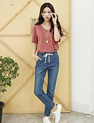 Sign tether elastic waist denim trousers casual jeans female Harlan feet