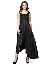 cheap -A-Line Jewel Neck Asymmetrical Satin Formal Evening Black Tie Gala Dress with Sequin Pocket by TS Couture®