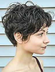 Недорогие -Короткие естественные вьющиеся человеческие волосы парик без крышки парик тепло безопасно для женщин 2017