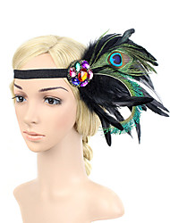 Women's Peacock Feather/Beads Elasticity Headpiece-Special Occasion/Party Flowers 1 Piece Headdress Hair Band Hair Accessories Black/Dark Blue/Fuchsia