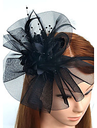 cheap -Feather Net Headbands Fascinators Flowers Headwear Wreaths Birdcage Veils with Floral 1pc Wedding Special Occasion Headpiece