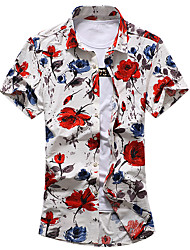cheap -Men's Daily Going out Plus Size Casual Summer Shirt,Floral Classic Collar Short Sleeves Cotton Polyester Medium