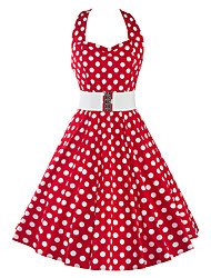 cheap -Women's Daily Vintage A Line Dress,Polka Dot Halter Knee-length Short Sleeves Cotton Polyester Spandex Summer Mid Rise Inelastic Thin