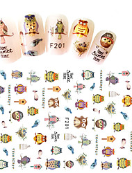 1pcs Fashion Lovely Nail DIY Beauty Decoration Nail Art 3D Sticker Cute Cartoon Animal Owl Creative Design F201