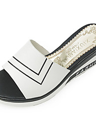 Women's Sandals Comfort PU Spring Summer Casual Comfort Wedge Heel White Black 3in-3 3/4in