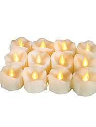 cheap -Set of 12 Premium Flameless Votive Candles with Dripping with Timer Battery-operated LED Candles Long Battery Life 200 Hours Battery Included.