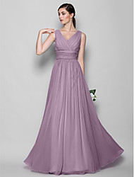 cheap -A-Line Sheath / Column V Neck Floor Length Georgette Bridesmaid Dress with Criss Cross by LAN TING BRIDE®