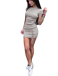cheap -Women's Daily Going out Holiday Casual Sexy Street chic Bodycon Sheath Dress,Solid Round Neck Mini Short Sleeves Polyester Summer High