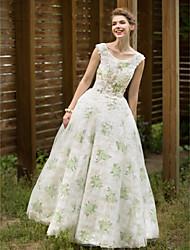 A-ligne scoop neck floor length robe de mariée en tulle avec plis par huaxirenjiao