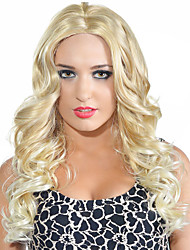 Women Wig Natural Hair Heat Resistant 16 inch Middle Part Long Curly Wig Blonde Wig Synthetic Wigs Hot Sale.