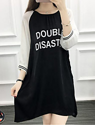 Women's Going out Casual/Daily Sexy Street chic Loose Dress,Print Round Neck Asymmetrical ¾ Sleeve Polyester Spring Summer Mid Rise
