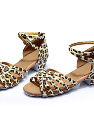 preiswerte -Damen Latin Kunstleder Flach, Ballerina Innen Maßgefertigter Absatz Leopard Maßfertigung