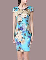 abordables -Mujer Tallas Grandes Noche Vaina Vestido Floral Sobre la rodilla