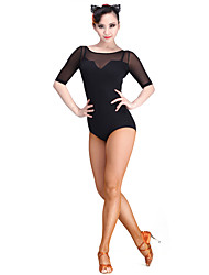 cheap -Latin Dance Leotards Women's Performance Tulle Milk Fiber 1 Piece 3/4 Length Sleeve Leotard