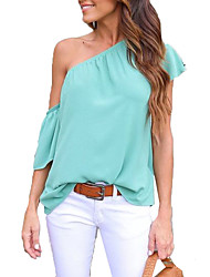 Women's Going out Casual/Daily Sexy Sophisticated All Seasons Blouse,Solid Off Shoulder Short Sleeve Rayon