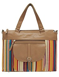 Kate&Co. ladies fashion canvas with leather retro stripes Shoulder Bag Handbag Khaki stripe 12 inch TH-02037