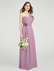 Sheath / Column One Shoulder Sweetheart Floor Length Chiffon Bridesmaid Dress with Flower by LAN TING BRIDE®